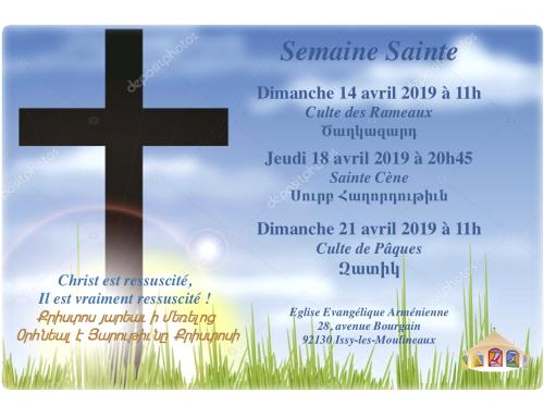 Pâques 2019 – Programme de la semaine Sainte