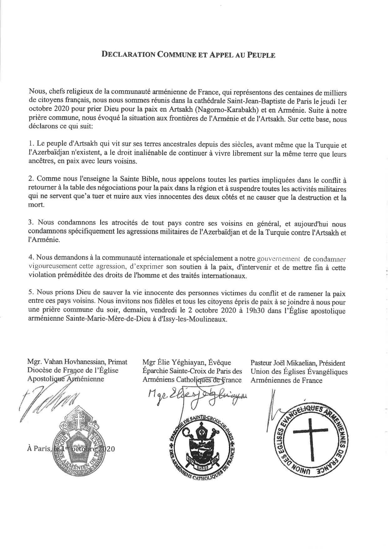 Communiqué des chefs religieux de la communauté arménienne de France